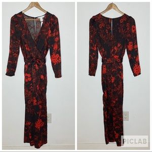 H&M Red Black Floral Puff Sleeve Jumpsuit Size 6